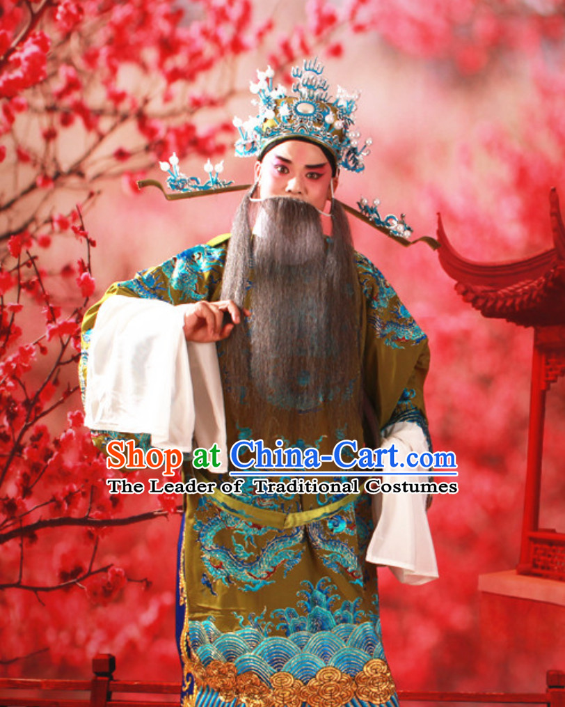 Chinese Traditional Beijing Opera Mang Embroidered Dragon Long Robe for Men