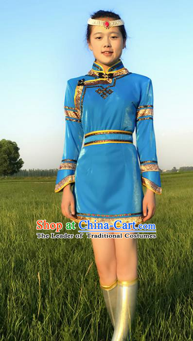 Chinese Mongol Nationality Blue Costume, Traditional Mongolian Folk Dance Clothing Mongolian Robe for Women