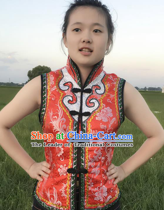Chinese Mongol Nationality Ethnic Costume Red Vests, Traditional Mongolian Folk Dance Waistcoat for Women
