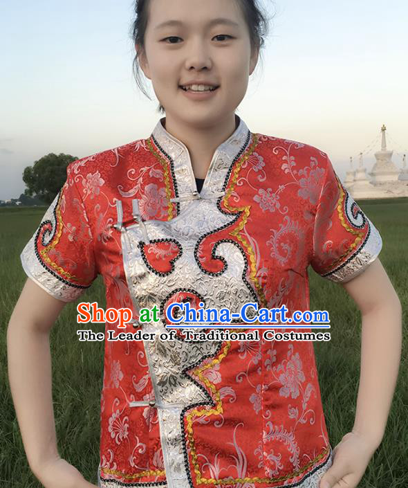Chinese Mongol Nationality Ethnic Red Blouse Costume, Traditional Mongolian Folk Dance Waistcoat for Women