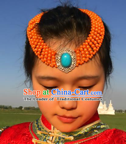 Traditional Chinese Mongol Nationality Princess Orange Beads Hair Accessories, Mongolian Minority Hair Jewelry Dance Headwear for Women