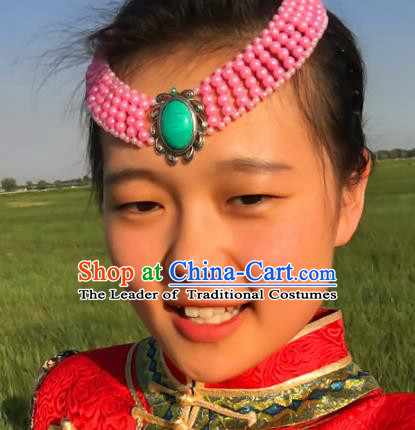 Traditional Chinese Mongol Nationality Princess Pink Beads Hair Accessories, Mongolian Minority Hair Jewelry Dance Headwear for Women