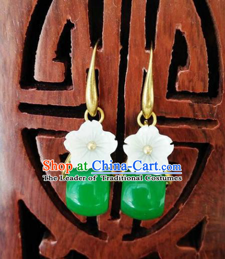 Chinese Handmade Accessories Hanfu Jadeite Eardrop Ancient Earrings for Women