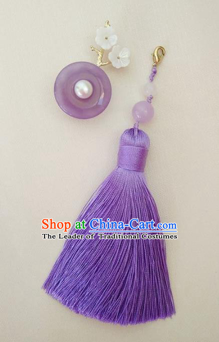 Chinese Ancient Handmade Brooch Jewelry Accessories Purple Tassel Peace Buckle Breastpin for Women