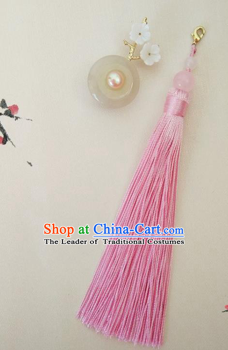Chinese Ancient Handmade Brooch Jewelry Accessories Pink Tassel Peace Buckle Breastpin for Women