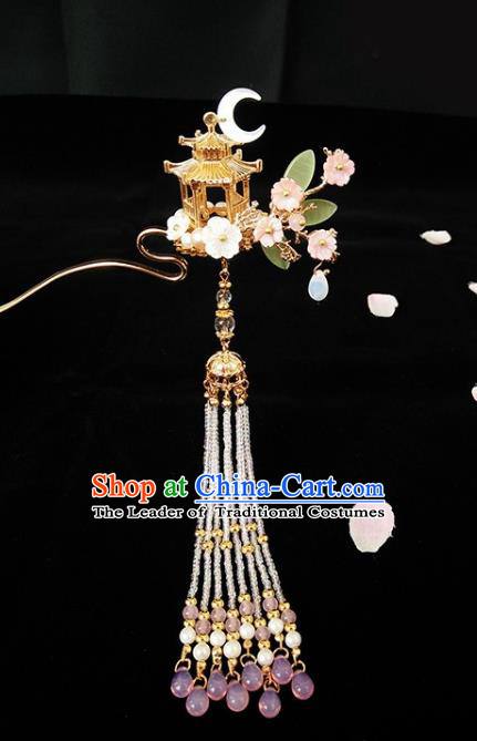 Chinese Ancient Hair Accessories Hanfu Hairpins Handmade Tassel Step Shake Hair Clip for Women