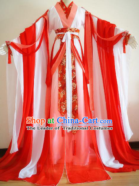 Chinese Ancient Cosplay Palace Princess Costume Jin Dynasty Swordswoman Red Hanfu Dress for Women