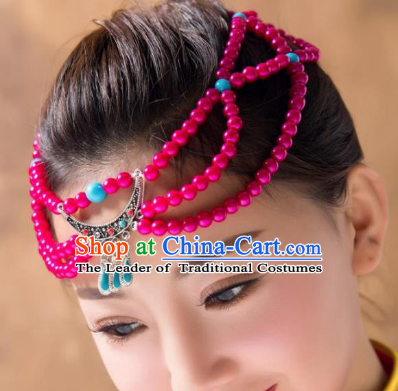 Traditional Chinese Folk Dance Rosy Beads Hair Accessories, Mongolian Minority Hair Jewelry Dance Headwear for Women