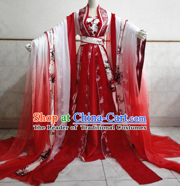 Chinese Ancient Cosplay Fairy Costume Tang Dynasty Princess Swordswoman Red Hanfu Dress for Women