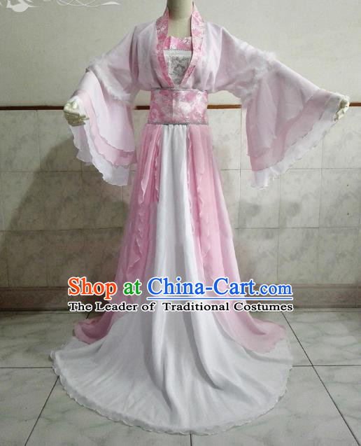 Chinese Ancient Cosplay Fairy Costume Tang Dynasty Princess Swordswoman Pink Hanfu Dress for Women