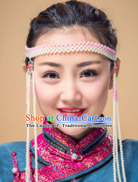 Traditional Chinese Folk Dance Tassel Hair Accessories, Mongolian Minority Hair Jewelry Dance Headwear for Women