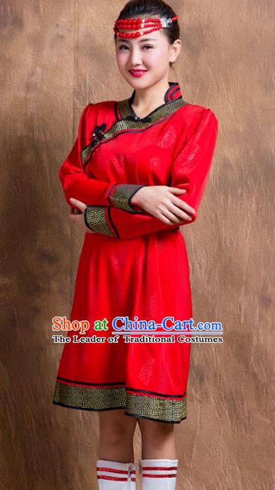 Chinese Traditional Female Ethnic Costume, China Mongolian Minority Folk Dance Red Dress for Women