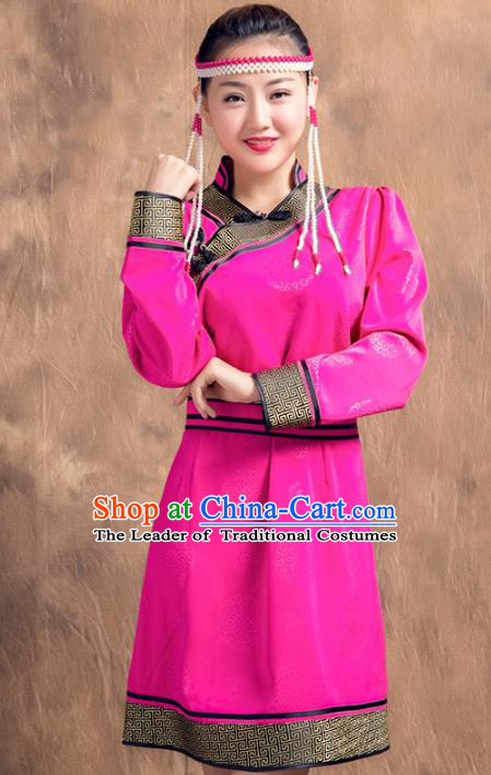 Chinese Traditional Female Ethnic Costume, China Mongolian Minority Folk Dance Rosy Dress for Women