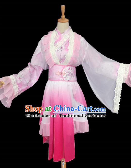 Chinese Ancient Cosplay Swordswoman Costume Traditional Song Dynasty Princess Pink Hanfu Dress for Women