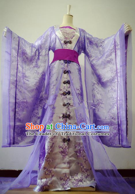 Chinese Ancient Cosplay Imperial Consort Costume Traditional Song Dynasty Princess Purple Hanfu Dress for Women