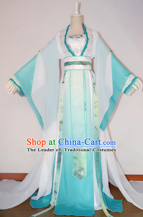 Chinese Ancient Cosplay Imperial Princess Costume Tang Dynasty Nobility Lady Blue Hanfu Dress for Women