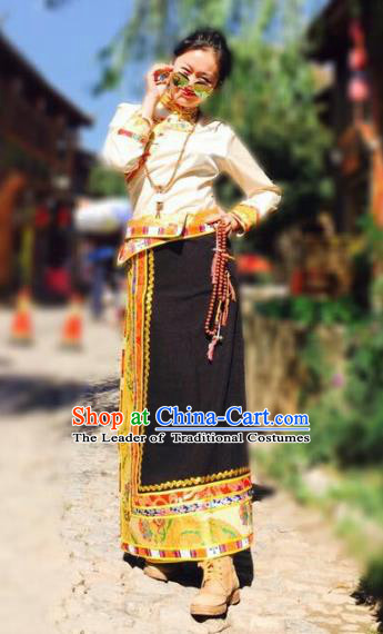 Chinese Traditional Minority Costume Zang Nationality Bust Skirt for Women