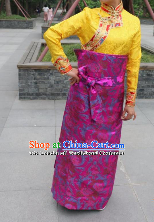 Chinese Traditional Minority Costume Zang Nationality Rosy Brocade Bust Skirt for Women