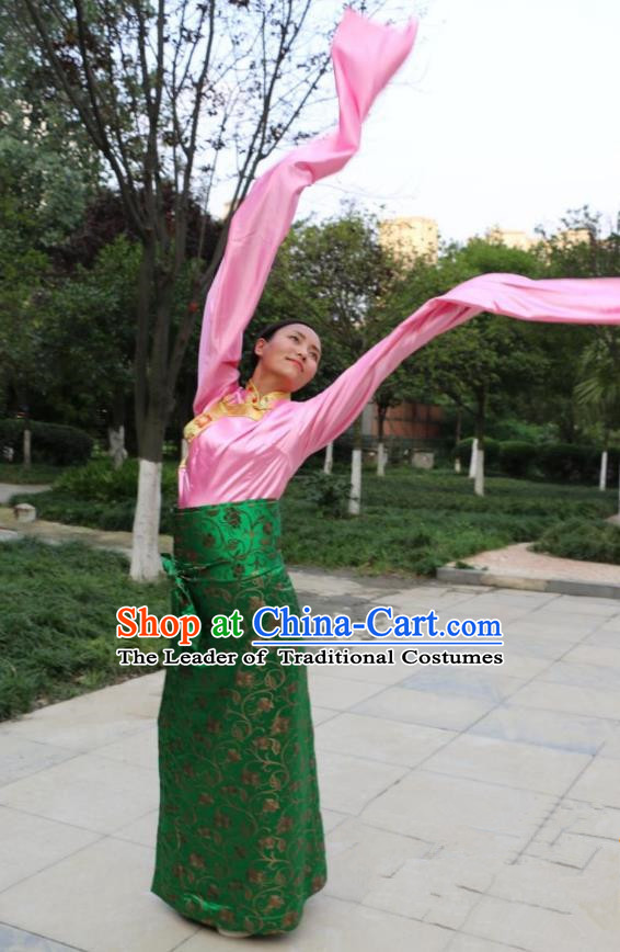 Chinese Traditional Minority Dance Costume Zang Nationality Water Sleeve Clothing for Women