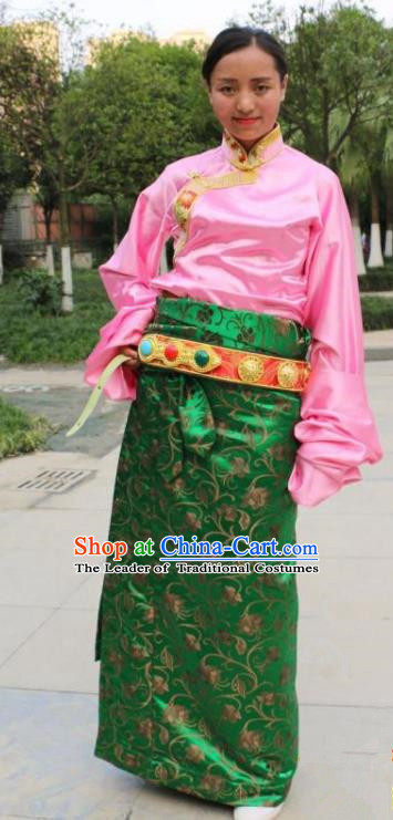 Chinese Traditional Minority Dance Costume Zang Nationality Tibetan Minority Green Skirt for Women