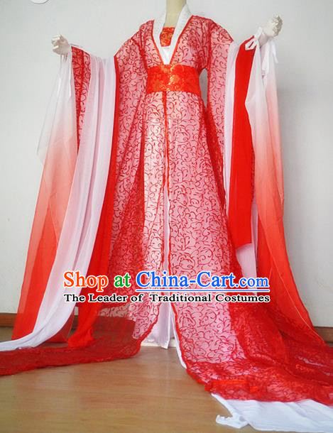 Chinese Ancient Cosplay Queen Costume Traditional Tang Dynasty Palace Lady Red Hanfu Dress for Women