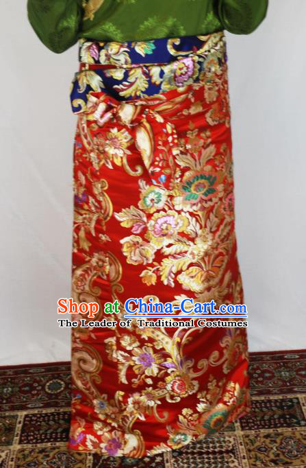 Chinese Traditional Minority Dance Costume Zang Nationality Tibetan Minority Red Skirt for Women