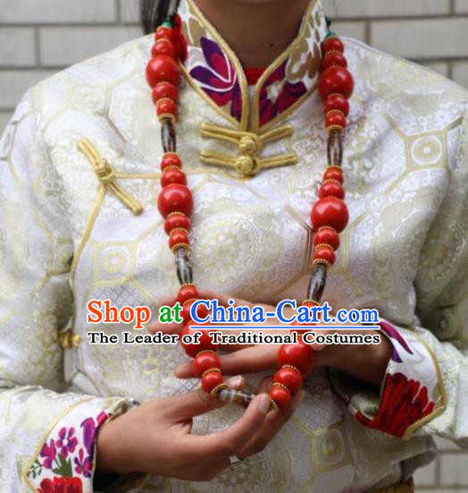 Chinese Zang Nationality Handmade Accessories Tibetan Minority Beeswax Necklace for Women