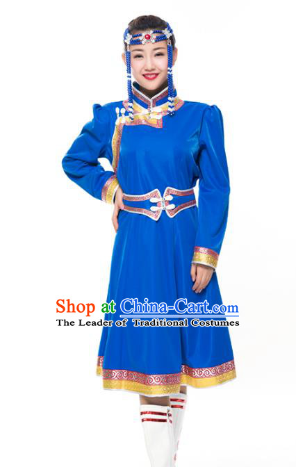Chinese Traditional Female Ethnic Costume Blue Mongolian Robe, China Mongolian Minority Folk Dance Clothing for Women