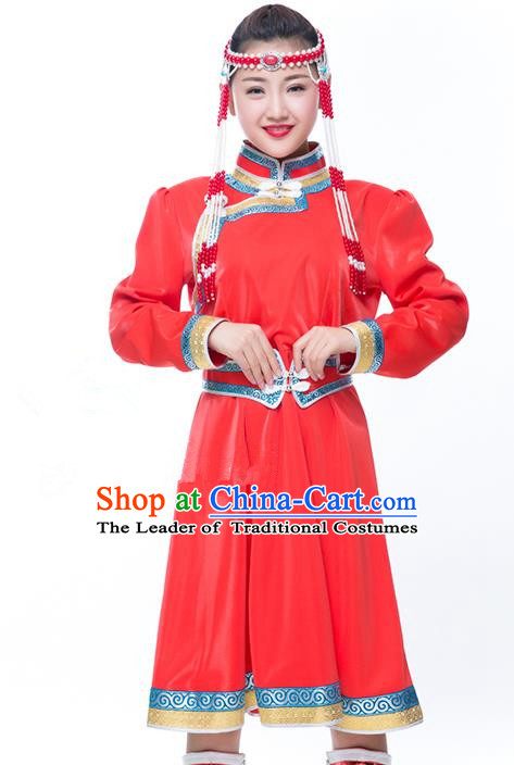Chinese Traditional Female Ethnic Costume Red Mongolian Robe, China Mongolian Minority Folk Dance Clothing for Women