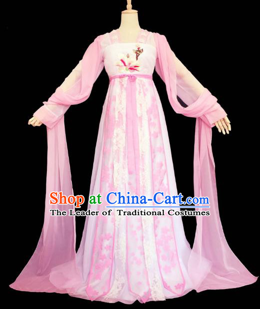 Chinese Ancient Cosplay Princess Pink Hanfu Dress Traditional Tang Dynasty Young Lady Embroidered Costume for Women