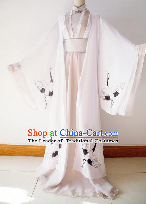 Chinese Ancient Cosplay Scholar Printing Cranes Costume Han Dynasty Nobility Childe Swordsman Clothing for Men