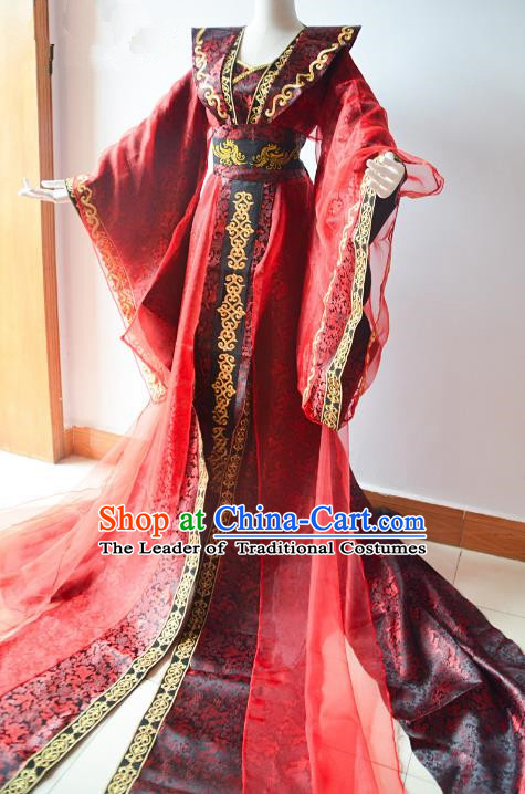 Chinese Traditional Han Dynasty Queen Hanfu Dress Ancient Empress Trailing Costume for Women