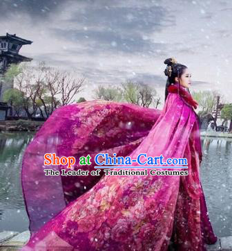 Chinese Traditional Ancient Princess Clothing Purple Cloak Cosplay Swordswoman Costume for Women