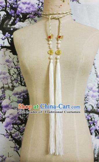Chinese Ancient Handmade Golden Waist Accessories Hanfu Waist Strap Waistband for Women