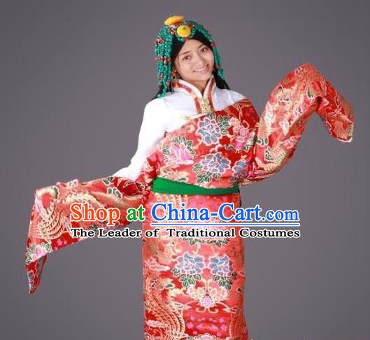 Chinese Traditional Minority Dance Costume Red Tibetan Robe Zang Nationality Clothing for Women