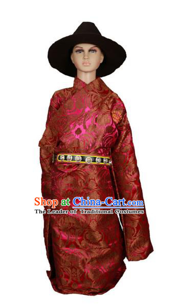 Chinese Traditional Tibetan Minority Dance Costume Zang Nationality Rosy Brocade Tibetan Robe for Kids