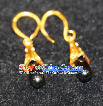 Chinese Zang Nationality Handmade Jewelry Accessories Tibetan Minority Black Earrings for Women