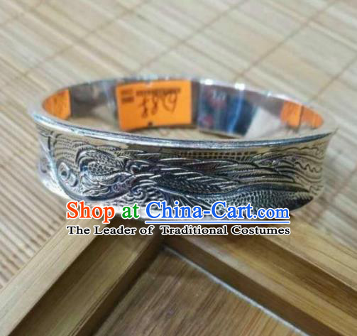 Chinese Zang Nationality Handmade Accessories Bracelet Tibetan Minority Carving Sliver Bangle for Women