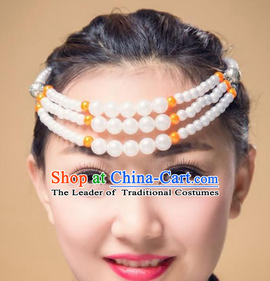 Traditional Chinese Folk Dance Hair Accessories, Mongolian Minority White Beads Hair Jewelry Dance Headband for Women