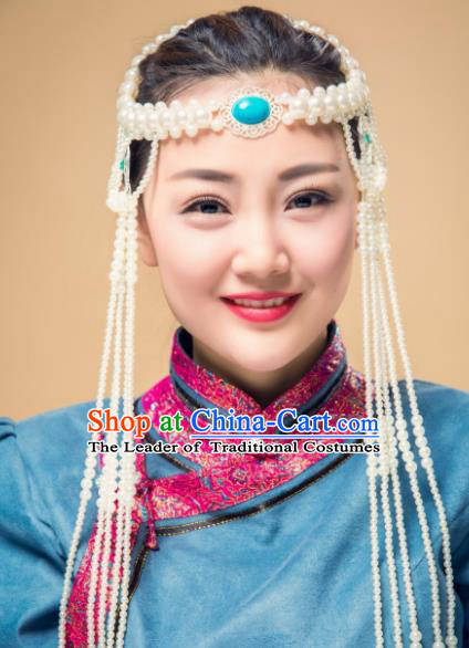 Traditional Chinese Folk Dance Tassel Hair Accessories, Mongolian Minority White Beads Hair Jewelry Dance Headband for Women