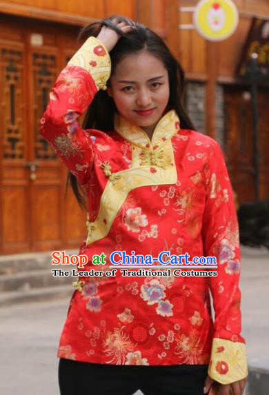 Chinese Traditional Tibetan Minority Costume Red Blouse Zang Nationality Clothing for Women