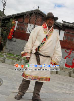 Chinese Traditional Tibetan Minority Wedding Costume Zang Nationality White Brocade Tibetan Robe for Men