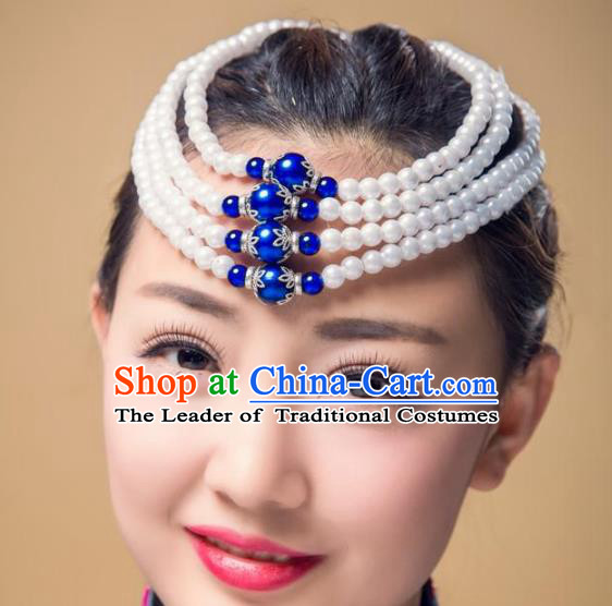 Chinese Traditional Folk Dance Hair Accessories, Mongolian Minority Bride Blue Beads Hair Jewelry Dance Headband for Women