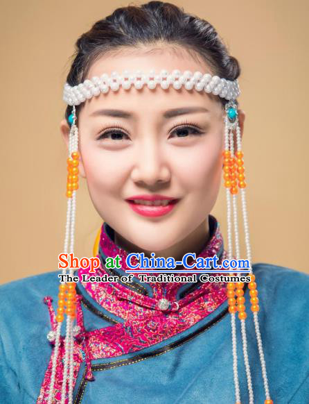 Chinese Traditional Folk Dance Tassel Hair Accessories, Mongolian Minority Bride Orange Beads Hair Jewelry Dance Headband for Women
