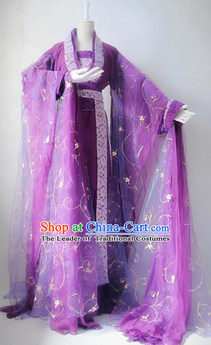 Chinese Han Dynasty Imperial Consort Purple Hanfu Dress Ancient Fairy Traditional Costume for Women
