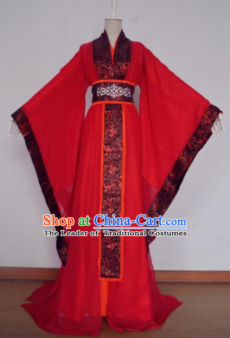 Chinese Han Dynasty Royal Highness Hanfu Ancient Swordsman Bridegroom Red Clothing for Men