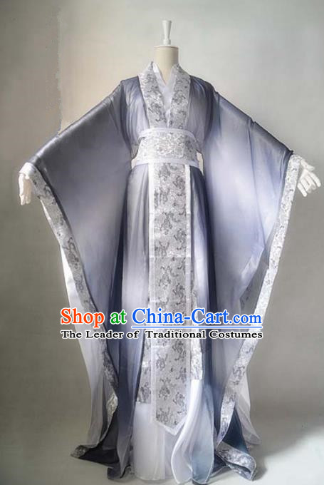 Chinese Han Dynasty Royal Highness Hanfu Ancient Swordsman Grey Clothing for Men