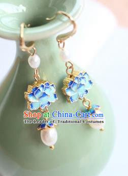 Chinese Ancient Handmade Earrings Accessories Hanfu Blueing Lotus Eardrop for Women