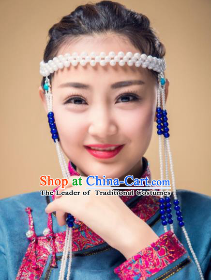 Chinese Traditional Folk Dance Tassel Hair Accessories, Mongolian Minority Bride Blue Beads Hair Jewelry Dance Headband for Women