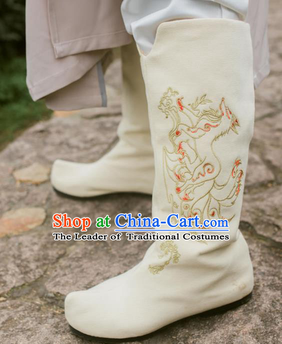 Chinese Traditional White Cloth Shoes Ancient Swordsman Hanfu Embroidered Boots for Men